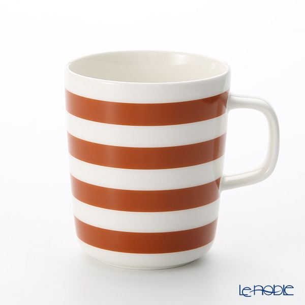 Marimekko Tasaraita / Stripes White x Brown 18AW Mug 250ml