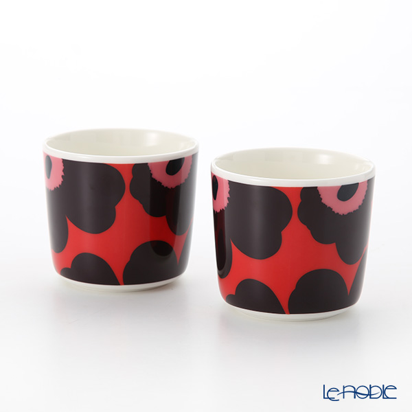 Marimekko Unikko / Poppy Red x Violet x Pink 18AW Coffee Cup without handle (set of 2)