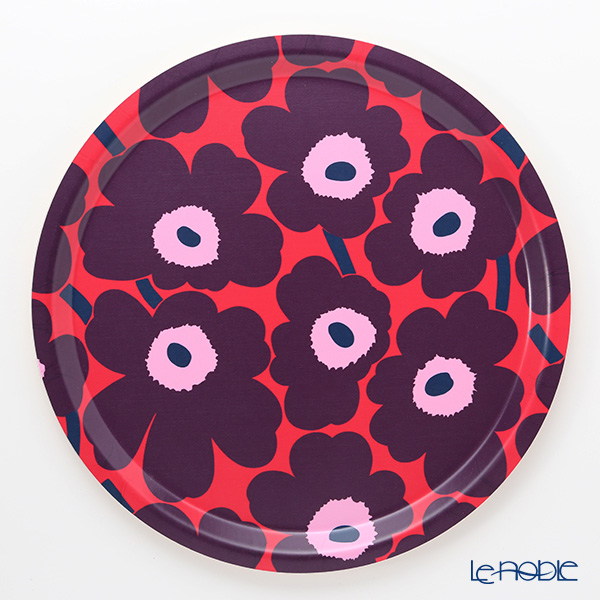 Marimekko 'Pieni Unikko / Poppy' Red x Violet x Pink Tray 31cm (Plywood)