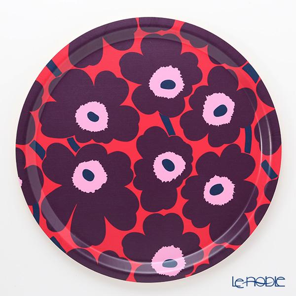 Marimekko Pieni Unikko / Poppy Red x Violet x Pink 18AW Tray 31cm (plywood)
