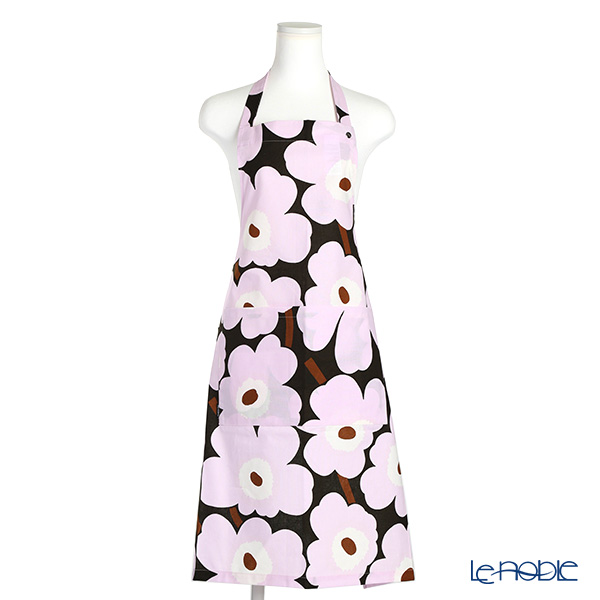 Marimekko 'Pieni Unikko / Poppy' Dark Gray x Pink Apron 83x83cm (Cotton)