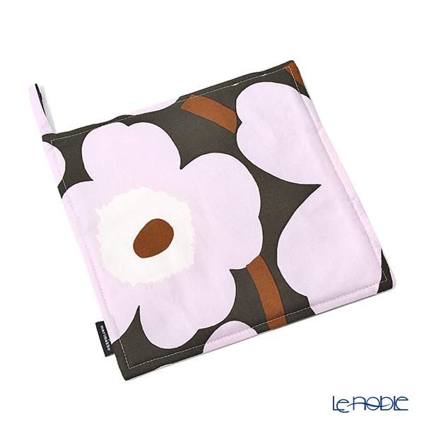 Marimekko 'Pieni Unikko / Poppy' Dark Gray x Pink Pot Holder 21.5x21.5cm (Cotton)