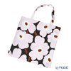 Marimekko 'Pieni Unikko / Poppy' Dark Gray x Pink Fabric Bag 43cm (Cotton)