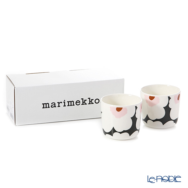 Marimekko 'Unikko / Poppy' White x Green x Pink Coffee Cup without handle (set of 2)