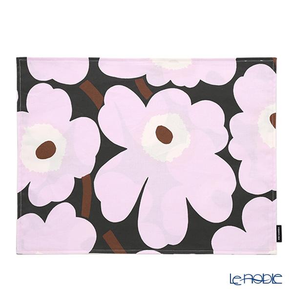 Marimekko 'Pieni Unikko / Poppy' Dark Gray x Pink Cotton Place Mat 32.5x42.5cm