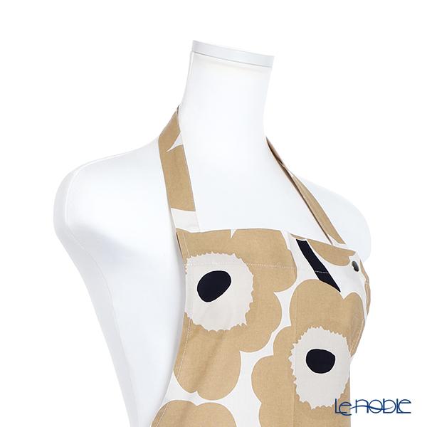 Marimekko 'Unikko / Poppy' White x Beige x Dark Blue 069907-185 Apron (Cotton)