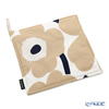 Marimekko 'Unikko / Poppy' White x Beige x Dark Blue 069909-185 Pot Holder 21x21cm (Cotton)