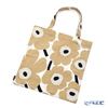 Marimekko 'Unikko / Poppy' White x Beige x Dark Blue 069915-185/20SS Fabric Bag (Cotton)