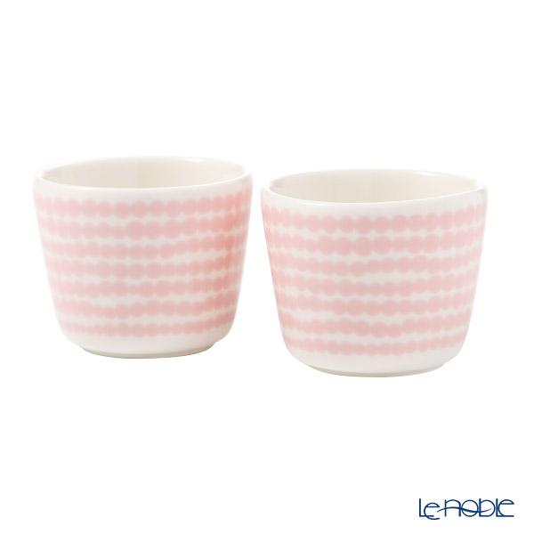 マリメッコ(marimekko) Siirtolapuutarha シイルトラプータルハ/市民菜園 エッグカップセット 4cm ホワイト×ピンク ペア