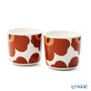Marimekko 'Unikko / Poppy' White x Brown x Black 070397-189 Coffee Cup without handle (set of 2)
