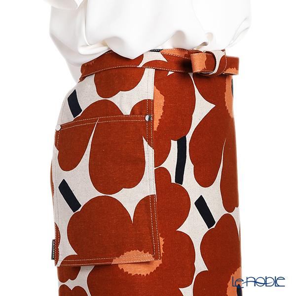 Marimekko 'Unikko / Poppy' White x Brown x Black 070473-884 Half Apron (Cotton & Hemp)