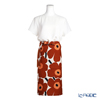 Marimekko 'Unikko / Poppy' White x Brown x Black 070473-884 Half Apron (Cotton & Hemp)