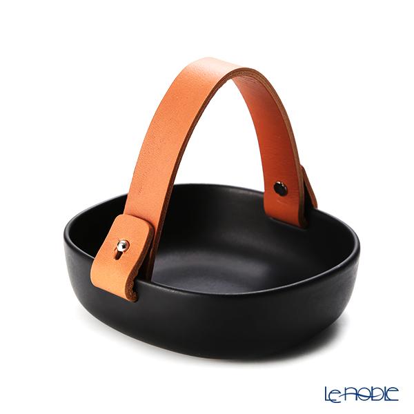 マリメッコ(marimekko) Pikku Koppa/Oiva オイヴァ セラミックバスケット ブラック 12×13cm 070557-900/20AW レザーハンドル付