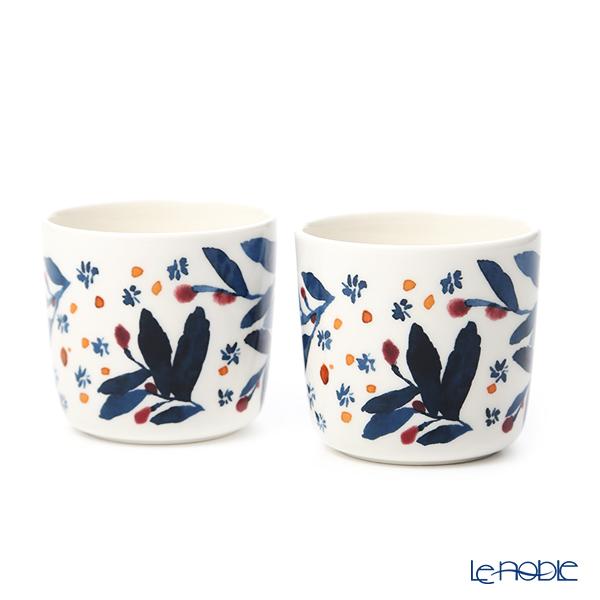 マリメッコ(marimekko)hyhma ヒュフマ/霜コーヒーカップセット(ハンドなし) ホワイト×ブルー×レッド 070611-153/20AW