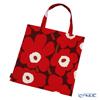 Marimekko 'Unikko / Poppy' Dark Red x Light Gray 069915-332 Fabric Bag (Cotton)