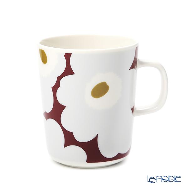 マリメッコ(marimekko) ウニッコマグカップ 250ml (ワインレッド×グレー×オリーブ) 070741-396/20AW