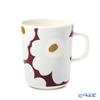 Marimekko 'Unikko / Poppy' Wine Red x Light Grey x Olive Green 070741-396 Mug 250ml