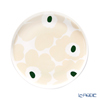 Marimekko 'Unikko / Poppy' White x Beige x Dark Green 070763-186 Plate 20cm