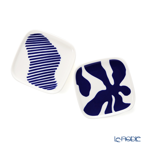 マリメッコ(marimekko) Ruudut ルードゥット/正方形 プレート 10×10cm ペア ブルー×ホワイト 070768-150/21SS