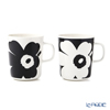 Marimekko 'Oiva - Juhla Unikko / Poppy' White x Black 071003-190 Mug 250ml (set of 2 colors)