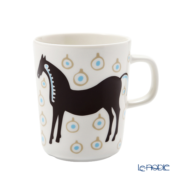 マリメッコ(marimekko) Musta tamma ムスタ タンマ/黒い馬 マグカップ 250ml ホワイト×ダークブラウン×ベージュ 071098-185 21AW