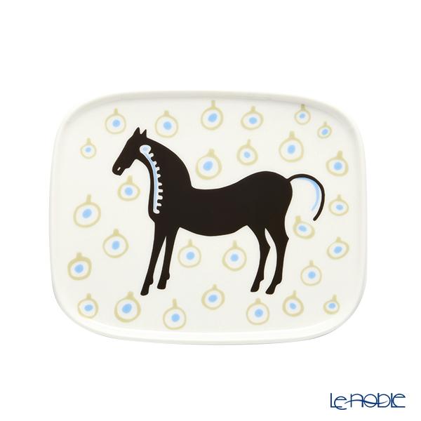 マリメッコ(marimekko) Musta tamma ムスタ タンマ/黒い馬 プレート 15.5×12.5cm ホワイト×ダークブラウン×ベージュ 071100-185 21AW