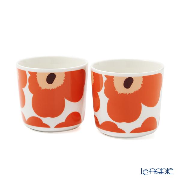 マリメッコ(marimekko) Unikko ウニッコ コーヒーカップセット(ハンドルなし) ホワイト×アプリコット×ダークブラウン 070637-128 21AW