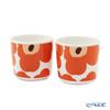 Marimekko 'Unikko / Poppy' Apricot Orange x Burgundy x Off White 070637-128 Coffee Cup without handle (set of 2)