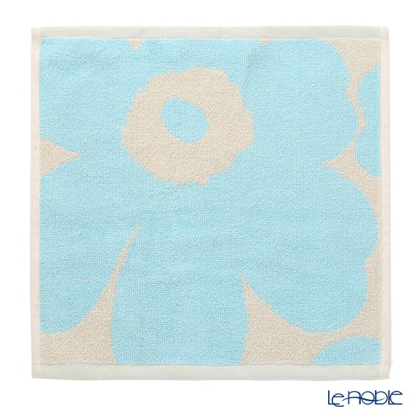 マリメッコ(marimekko) Unikko ウニッコ ミニタオル30×30cm オフホワイト×ライトブルー コットン 071153-151/21AW