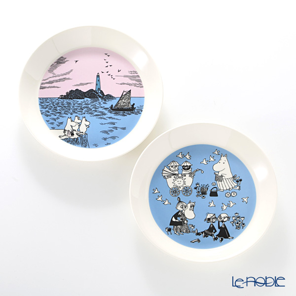 Arabia Moomin Collector's Plates - No.4 Night Sail & Peace Plate 19 cm [Sold only in Finland, set of 2, 2017]