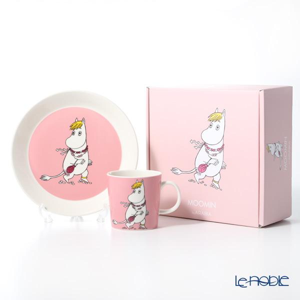 アラビア(ARABIA) ムーミンコレクション フローレン(SNORKMAIDEN) ピンク プレート&マグ2ピースセット