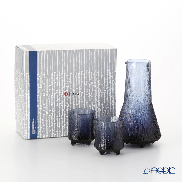 Iittala 'Ultima Thule' Rain Blue 1026771 Tumbler, Pitcher (S / set of 3 for 2 persons)
