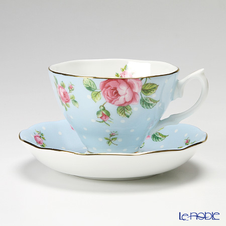 Royal Albert Polka Blue Vintage Teacup & Saucer Boxed POLBLU26135