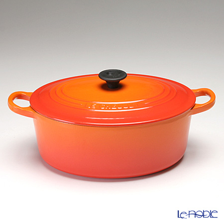 le noble le creuset cocotte ovale oval casserole 25 cm orange cast iron. Black Bedroom Furniture Sets. Home Design Ideas