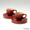 ( LeCreuset Le Creuset stoneware Espresso cups with & saucer pair red 0.08 L