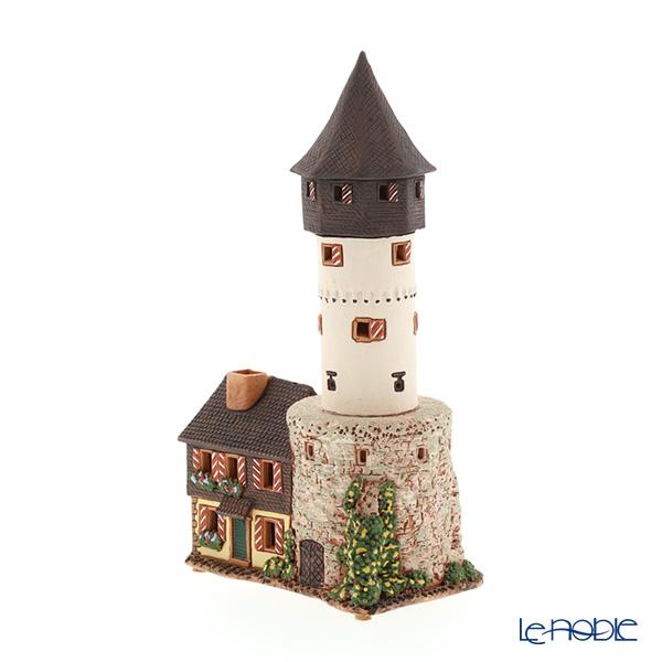 北欧リトアニア製陶器 アロマ/キャンドルハウス ミニチュアハウス 煙突付(香台付) フランクフルト フリートベルガーヴァルテ C334N LEDキャンドル付