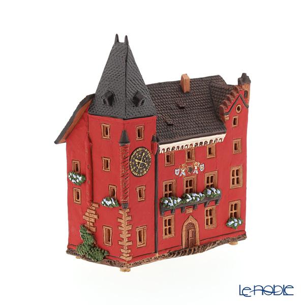 北欧リトアニア製陶器 アロマ/キャンドルハウス ミニチュアハウス 煙突付(香台付) フランス アグノー アルザス博物館 C384AR LEDキャンドル付