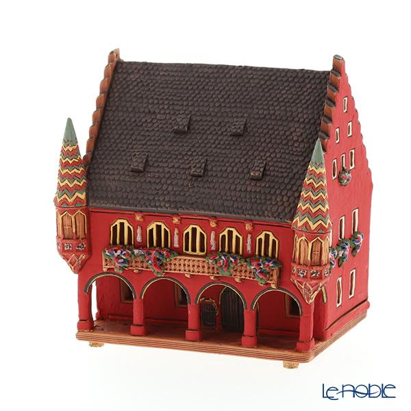 北欧リトアニア製陶器 アロマ/キャンドルハウス ミニチュアハウス 煙突付(香台付) ドイツ フライブルク カウフハウス C302AR LEDキャンドル付