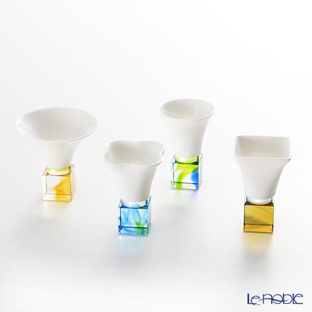 琉璃工房 LIULI LIVING 酒杯 脚琉璃 角 4ピースセット 天上20朶雲-樓上的雲 VTB014.BFXXZ