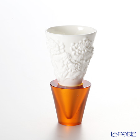 LiuLi Living 'Flourishing Flowers Imprint - Plum, Orchid, Bamboo, Chrysanthemum' Amber Orange VTB020 Sake Cup (set of 4 designs)