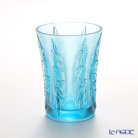 LiuLi Living / Crystal Glass 'In the Presence of Spring / Lovely Bamboo Shadows' Blue VGV016 Flower Vase H16.5cm