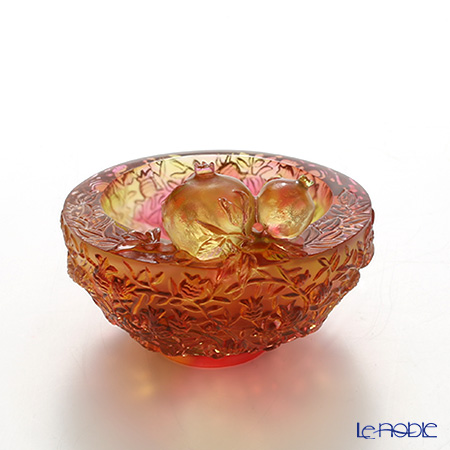 LiuLi GongFang / Paste Crystal Glass 'Lucky Eight - Luck in Abundance (Pomegranate)' PDF023 Bowl 8cm