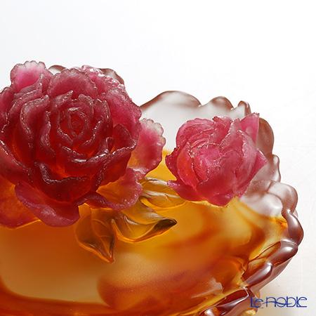 琉璃工房 LIULI GONGFANG オブジェ ローズプレート アンバー牡丹四月 PCG010.ADA