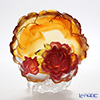LiuLi GongFang / Paste Crystal Glass 'Flower of the Month / Peony - April' Amber PCG010 Flower Plate Object with stand
