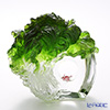 LiuLi GongFang / Paste Crystal Glass 'Cabbage with Grasshopper / Great Luck, Great Yield' PEF140 Object H17.5cm