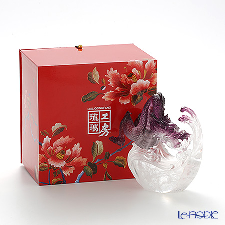 LiuLi GongFang / Paste Crystal Glass 'Dragon / Of Imposing Repute' PEA101 Figurine Object H14.5cm
