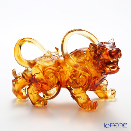 LiuLi GongFang / Paste Crystal Glass 'Heavenly Roar of the Exquisite / Tiger' Amber PEH170 Animal Figurine H14.5cm