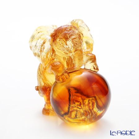 LiuLi GongFang / Paste Crystal Glass 'My Great Ambitions / Elephant' Amber PAH014 Animal Figurine H10.5cm