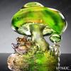 琉璃工房 LIULI GONGFANG オブジェ 蛙とキノコ グリーン有福同享貴方和我 PEF134.ADAEC