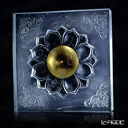 "[Back Order] Liuli Gongfang ""Buddha, Flower"" (Gold Leaf Edition) Crystal Chinese Element PFE019. ADAAZ"
